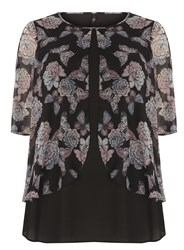 Evans Butterfly Print Overlay Top Multi Coloured