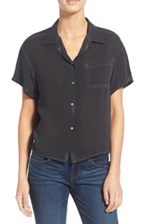 Women's Socialite Washed Camp Shirt Washed Black