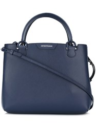 Emporio Armani Zip Up Tote Bag Blue