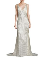 Naeem Khan Beaded V Neck Gown Silver