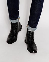 Brogue Boots In Leather Black