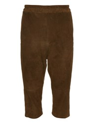 By Walid Roy Suede Cropped Trousers