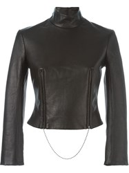 Alexander Wang Cropped Funnel Neck Top Black