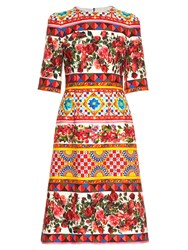 Dolce And Gabbana Carretto Print Midi Dress Pink Multi