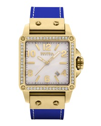 Brera Stella 14K Yellow Gold Ip Diamond Case Watch Cerulean Blue