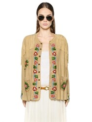 Polo Ralph Lauren Bead Embellished Fringed Suede Jacket