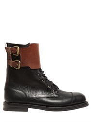 Vivienne Westwood Two Tone Lace Up And Buckle Leather Boots