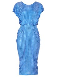 Saloni Aspara Draped Polka Dot Print Dress Blue White