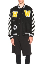 Off White Letterman Patch Jacket In Black