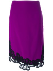 Victoria Beckham Side Slit Lace Midi Dress Pink Purple