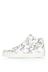Topshop Cinger Floral High Top Sneakers White
