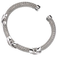 Jools By Jenny Brown 3 Big Kisses Silver And Cubic Zirconia Bangle