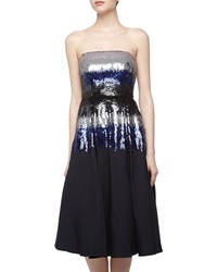 Nicole Miller Ombre Sequin Strapless Cocktail Dress Navy