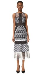 Jonathan Simkhai Embroidered Organza Gown Black White