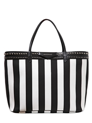 Givenchy Large Antigona Striped Coated Canvas Bag Black White
