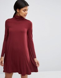 Asos Swing Dress With Polo Neck And Long Sleeves Oxblood Red