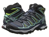 Salomon X Ultra Mid 2 Gtx Grey Denim Deep Blue Lucite Green Women's Shoes Gray