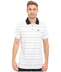 Cinch Athletic Tech Polo Striped White Men's Short Sleeve Knit