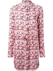 Maison Kitsune Maison Kitsune Palm Tree Print Shirt Dress Pink And Purple