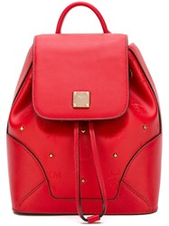 Mcm Stud Embellished Backpack Red