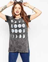 Asos T Shirt In Acid Wash With Moon Dust Print Grey