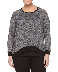 Chelsea And Theodore Marled Flyaway Pullover Tunic Black Gray
