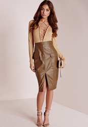 Missguided Faux Leather Pocket Pencil Skirt Tan Brown