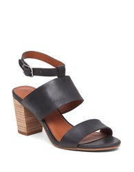Lucky Brand Jodalee Stacked Heel Leather Sandals Black
