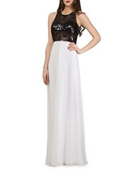 Js Collections Sequin Colorblocked Gown Black Ivory