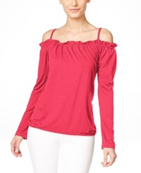 Inc International Concepts Long Sleeve Off Shoulder Peasant Blouse Only At Macy's Polished Coral