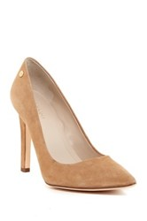 Calvin Klein Brady Suede Pointed Toe Pump Wide Width Available Beige