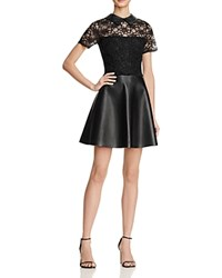 Aqua Lace And Faux Leather Dress Black