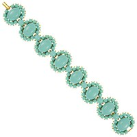 Eclectica Vintage 1960S Gold Plated Trifari Turquoise Bracelet Turquoise Gold