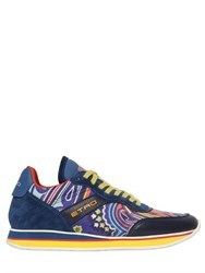 Etro Paisley Printed Silk And Leather Sneakers