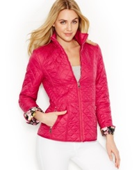 Betsey Johnson Contrast Cuff Quilted Jacket Berry