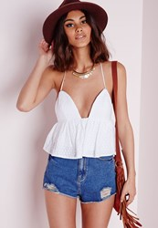 Missguided Backless Broderie Peplum Top White