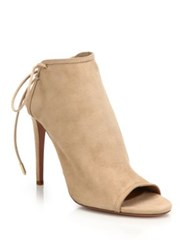 Aquazzura Mayfair Suede Lace Up Peep Toe Booties