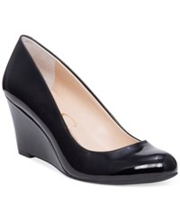 Jessica Simpson Sampson Round Toe Wedge Pumps Women's Shoes Black Patent
