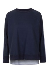 Shirt Back Sweatshirt By Boutique Navy Blue