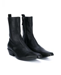 Haider Ackermann Leather Cowboy Boots Black Denim
