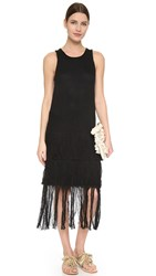 Tess Giberson Knit Weave Dress With Crochet Black