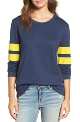 Treasure And Bond Women's Varsity Stripe Cotton Tee Navy Combo