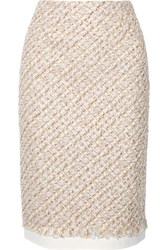 Oscar De La Renta Canvas Trimmed Metallic Tweed Pencil Skirt Baby Pink