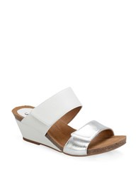 Sofft Angie Leather Wedge Sandals White
