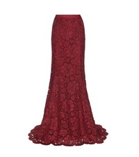Oscar De La Renta Lace Maxi Skirt Red
