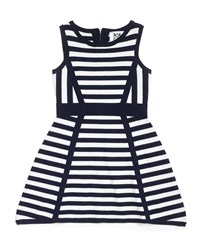 Milly Minis Directional Stripe Sleeveless Knit Dress Black White