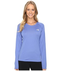 The North Face Long Sleeve Lfc Reaxion Amp Tee Stellar Blue Vaporous Grey Women's Long Sleeve Pullover