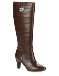 Lauren Ralph Lauren Sula Leather Knee High Boots Dark Brown