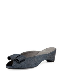 Stuart Weitzman Candy Peep Toe Denim Bow Slide Sandal Navy