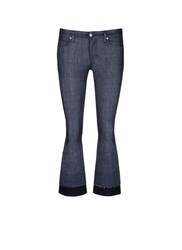 Victoria Beckham Wool Felt Cuff Cropped Flare Jeans Blue